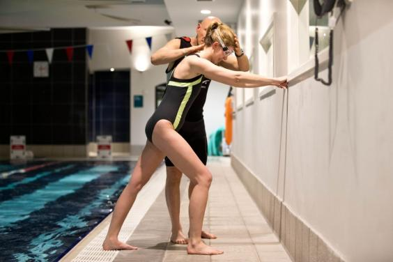 Kate Wills learns to swim under the tuition of Steven Shaw, owner of 'The Art of Swimming' - Photographed at Nuffield Health in Paddington